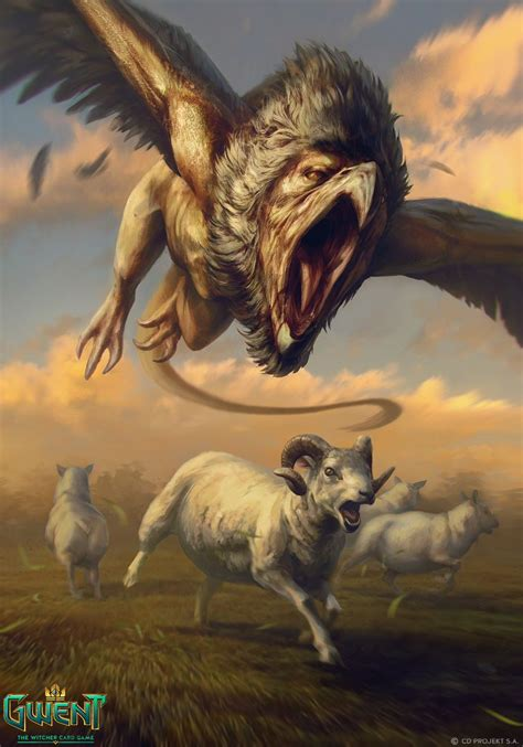 griffin and gargoyles game griffin gwent card by akreon the witcher card game sheep