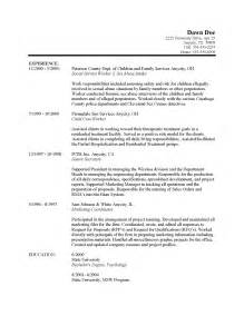 Exle Of Work Resume by Children Family Services Free Sle Resumes Exles Descriptions