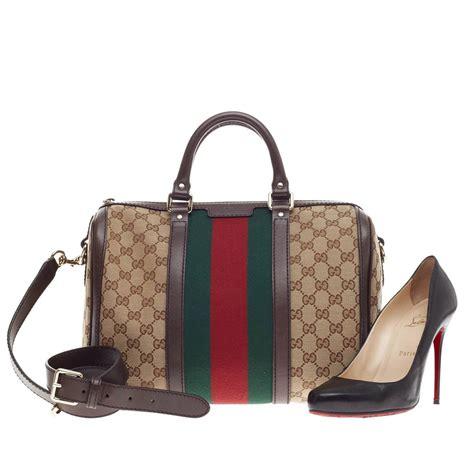 Bag Gucci Brown Kode 6138 gucci vintage web boston bag gg canvas medium at 1stdibs