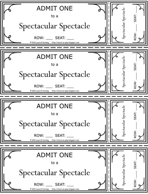printable pretend tickets 6 best images of pretend movie tickets free printable