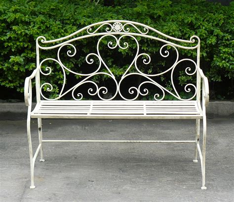iron outdoor bench white wrought iron shabby chic garden outdoor bench 3 4ft