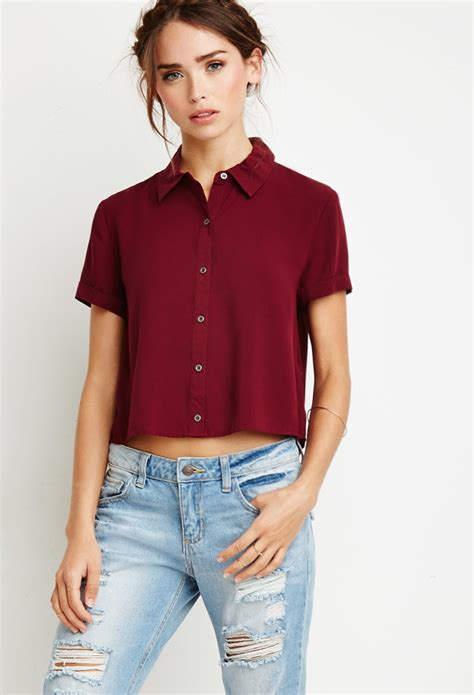 Boxy Shirt by Forever 21 Boxy Cropped Shirt In Purple Lyst