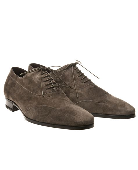 mens gray oxford shoes lidfort suede oxford shoes in brown for grey lyst