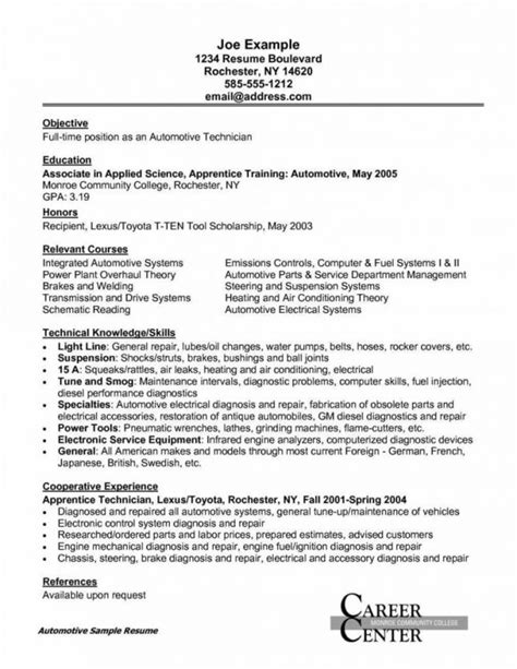 Automotive Resume Objective by Field Service Technician Resume Resume Sle Resume Objective For Electronics Technician Entry