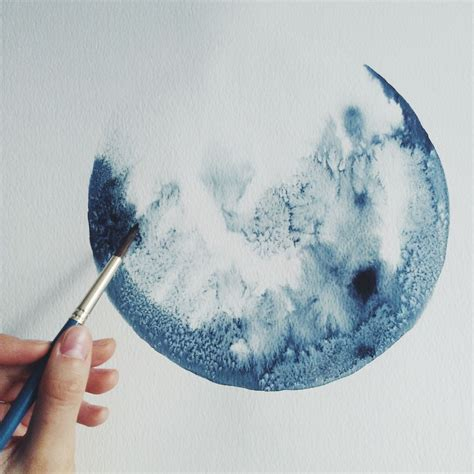 watercolor moon tutorial i watercolor monochromatic indigo moons bored panda