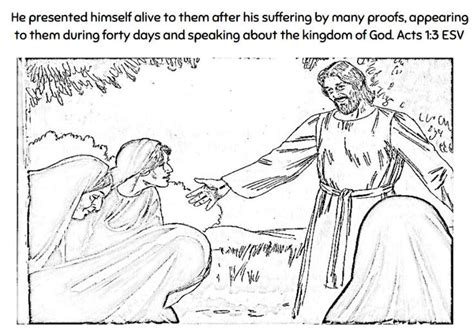 Acts 5 Coloring Pages by Acts 1 3 Resurrected Jesus Coloring Page Children S
