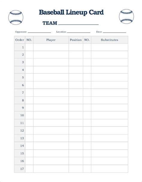 Baseball Card Template Doc by Baseball Line Up Card Template 9 Free Printable Word