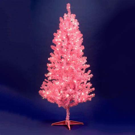prelit pink christmas tree