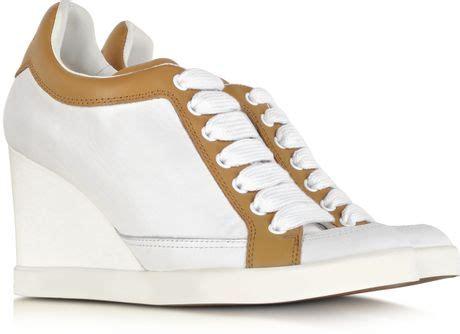 Khidima Light Brown Sneaker Wedges chlo 233 white and light brown leather wedge sneaker in brown