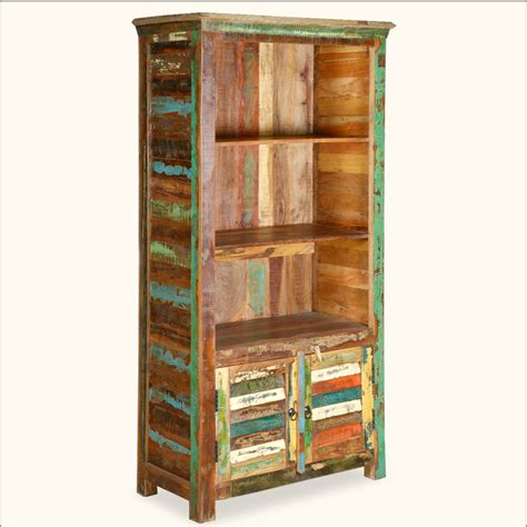 reclaimed wood display cabinet rustic bookcase bookshelf