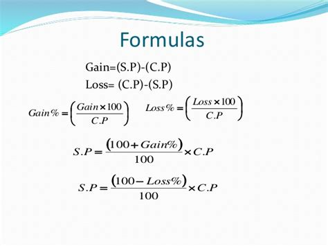 Gross Credit Loss Formula profit and loss formulas