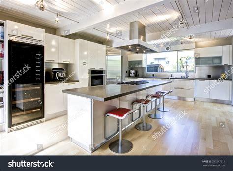 kitchen central island modern white chefs kitchen central island stock photo