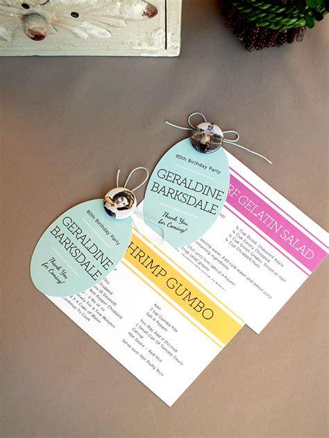 Recipe Card Gift Ideas - grandma s 80th birthday party recipe card favors gift favor ideas from evermine