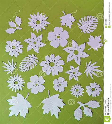 paper flower cutting pattern white flowers and leaves pattern paper cutting stock