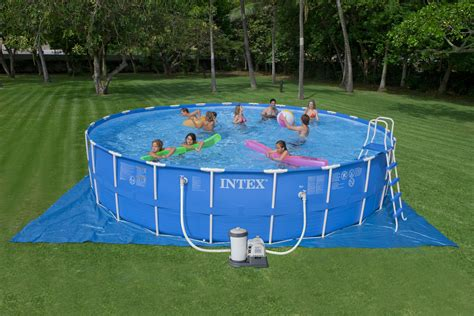 intex 24 x52 quot round above ground metal frame swimming pool