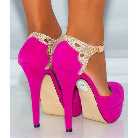 pink high heels shoes fuchsia pink gold metallic ankle stiletto