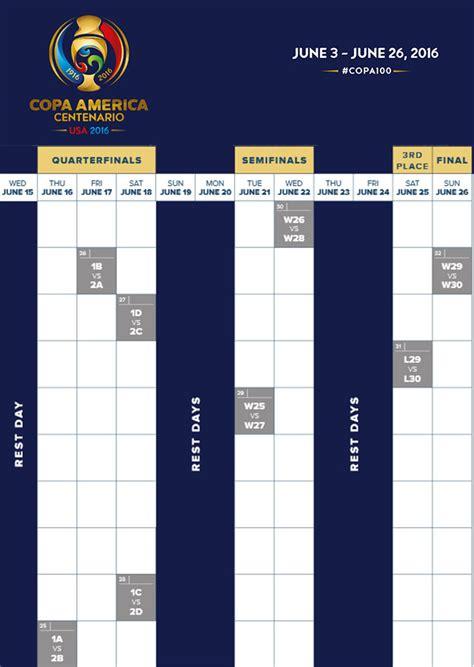 printable schedule copa america 2015 2016 copa america centenario schedule soccer365
