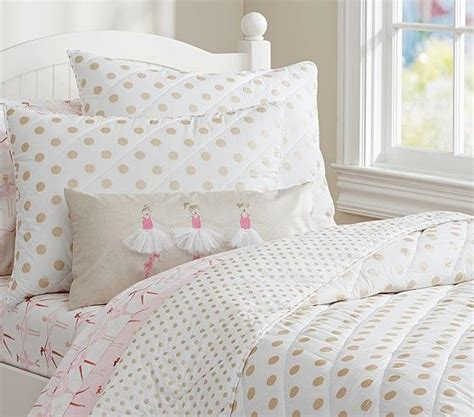 Polka Kid Set gold polka dot quilted bedding pottery barn