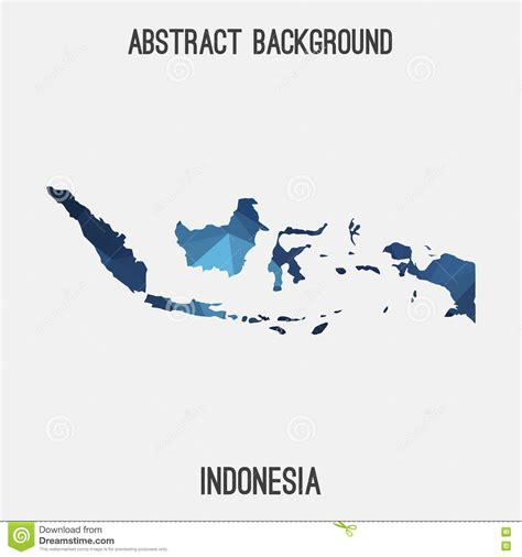 indonesia map  geometric polygonalmosaic style stock