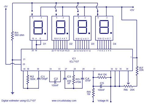 digital voltmeter circuit diagram digital voltmeter using icl7107 electronic circuits and