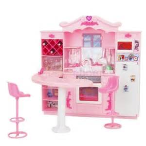 Furniture kitchen play set with playful accessories for barbie doll