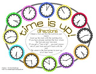 printable games for telling time bunting books and bright ideas time game freebie