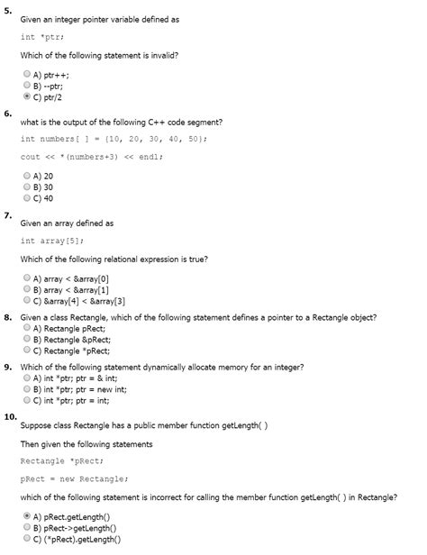 c tutorial questions answers c pointers multiple choice questions chegg com