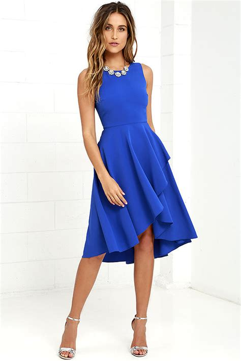 New High Low Fit Dress royal blue dress high low dress fit and flare dress 59 00