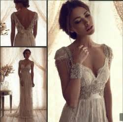 boho beach wedding dress 2015 romantic chiffon beaded lace
