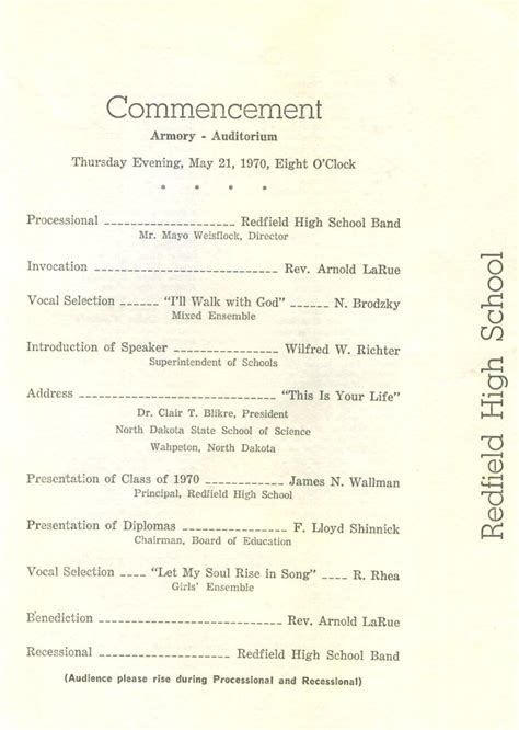 Redfield High School Class Of 1970 40 Year Reunion Graduation Program And Tassel May 17 1970 High School Graduation Program Template