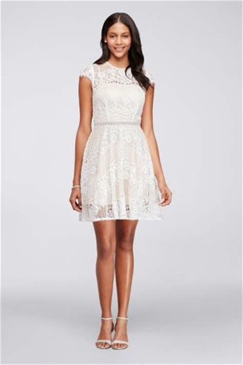 Longdress Cape Dian cap sleeve lace dress with beaded waist david s bridal