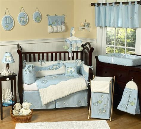 Go Fish Blue Ocean Under The Sea Baby Boy Bedding 9pc Crib Boy Nursery Bedding Sets
