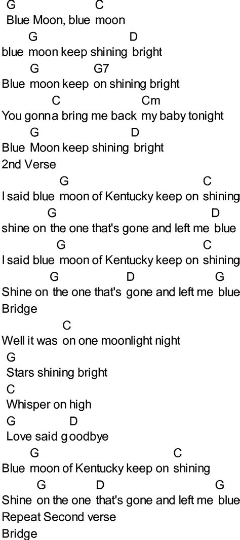 testo highway to bluegrass songs with chords blue moon of kentucky