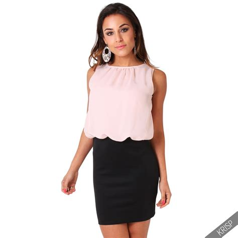 Minidress Top Belina womens oversized chiffon sleeveless top bodycon skirt contrast mini dress ebay