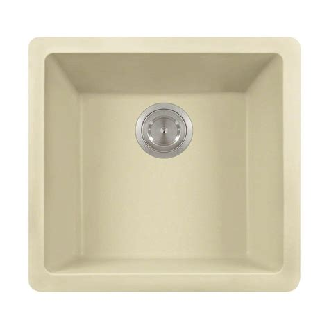 Beige Kitchen Sinks Polaris Sinks Undermount Granite 18 In Single Bowl Kitchen Sink In Beige P508 Beige The Home
