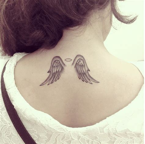 angel neck tattoo small wings i this tattoos