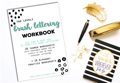 lettering workbook a premium beginner s practice lettering book introduction to lettering modern calligraphy books 40 lettering worksheets for planners tns bujos