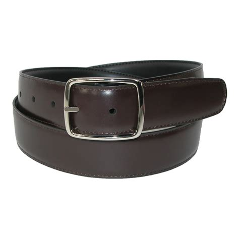 mens big leather reversible center bar dress belt