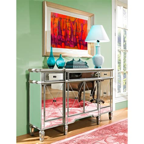 mirrored 3 drawer and 4 door console table silver