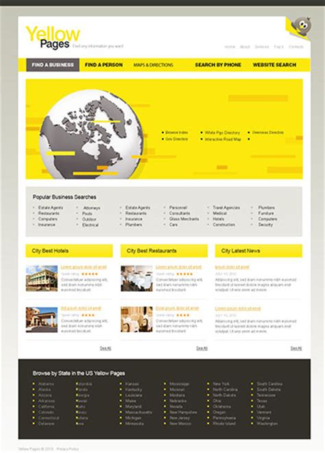 Yellow Pages Website Template Free City Portal Yellow Pages Free Templates Online