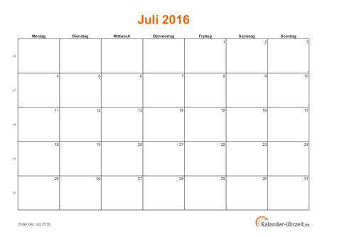 Kalender 2016 Juli Juli 2016 Kalender Mit Feiertagen