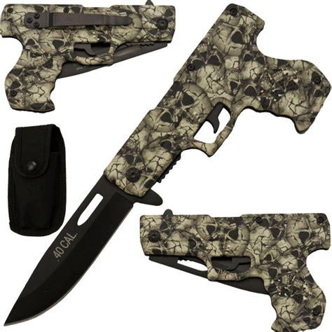 skull knives white skull camo assisted gun pistol knife