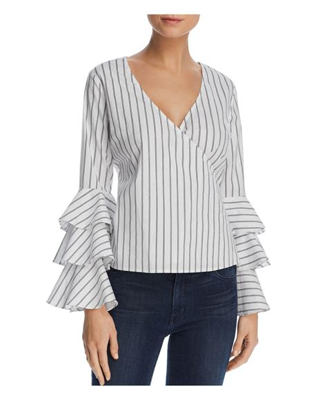 Crossover Bell lyst aqua striped bell sleeve crossover top in white