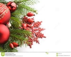 Light Ball Christmas Decoration Red Xmas Decorations On White Background Stock Photo