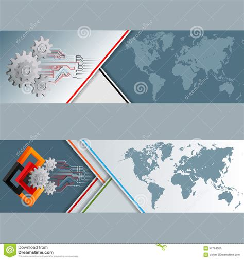 layout design for web banner set of banners with world map cogwheels squares and
