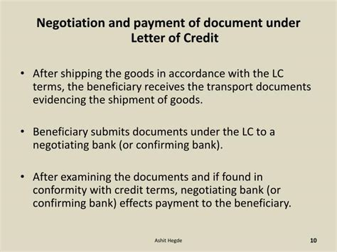 Credit Negotiation Letter Ppt Letter Of Credit Powerpoint Presentation Id 5001216