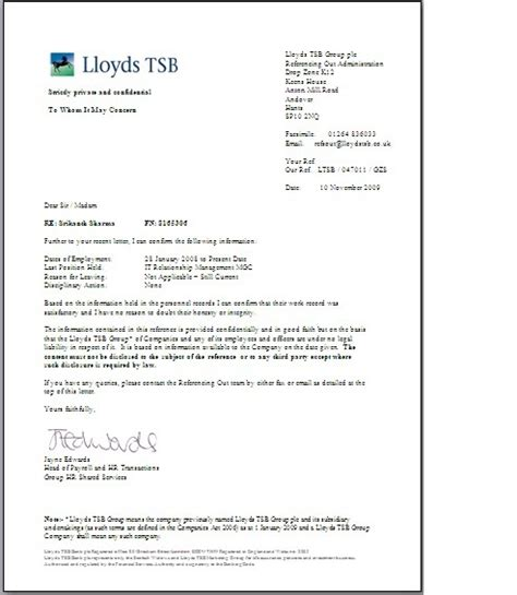 Commercial Bank Letterhead officestuff reference letter lloyds banking november 2009