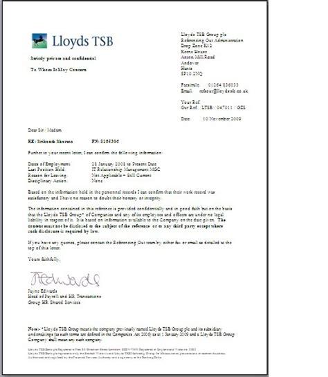 Audit Bank Letter Lloyds Officestuff Reference Letter Lloyds Banking November 2009
