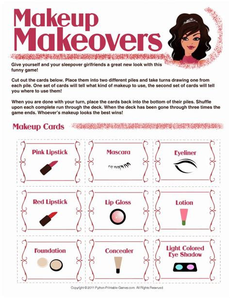 printable games to play at home makeup makeovers printable slumber party game for girls