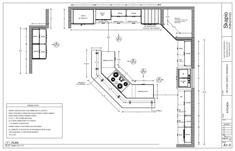 Kitchen Floor Plans Free by Sle Kitchen Floor Plan Shop Drawings